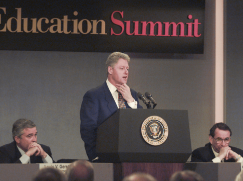 President Clinton addresses the National Education Summit in Palisades, N.Y., Wednesday March 27, 1996.
