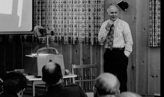 Ray Budde gives a presentation, 1972.