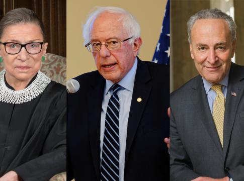 upreme Court justice Ruth Bader Ginsburg, Democratic presidential candidate Bernie Sanders and Senate minority leader Charles Schumer