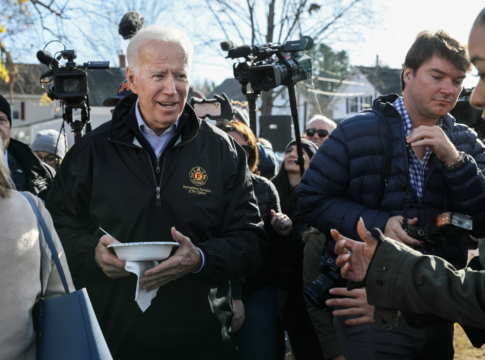 Former Vice President Joe Biden has a bowl of chili at a Fire Fighter Chili and Canvass Kickoff in Concord, N.H., on Saturday, Nov. 9, 2019, as part of his recent trip through the state.