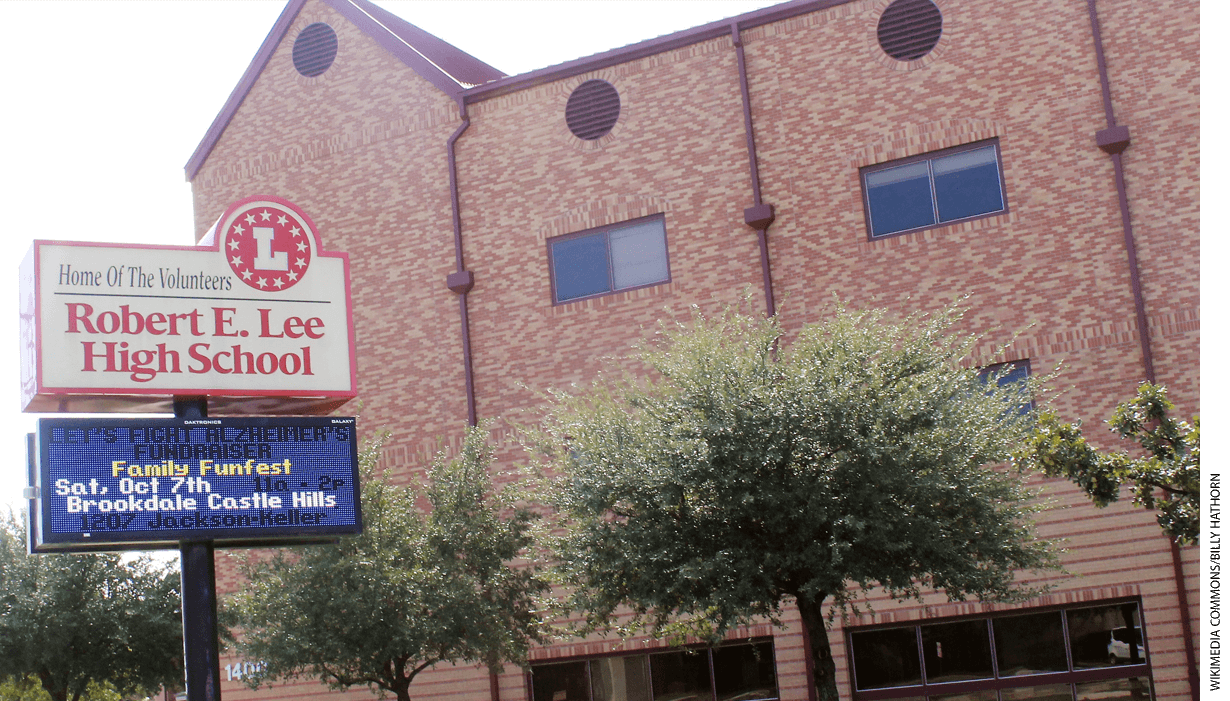 Robert E. Lee High School in San Antonio, Texas, pictured in 2017, was named for the Confederate general. The name has since been changed to Legacy of Educational Excellence (L.E.E.) High School.