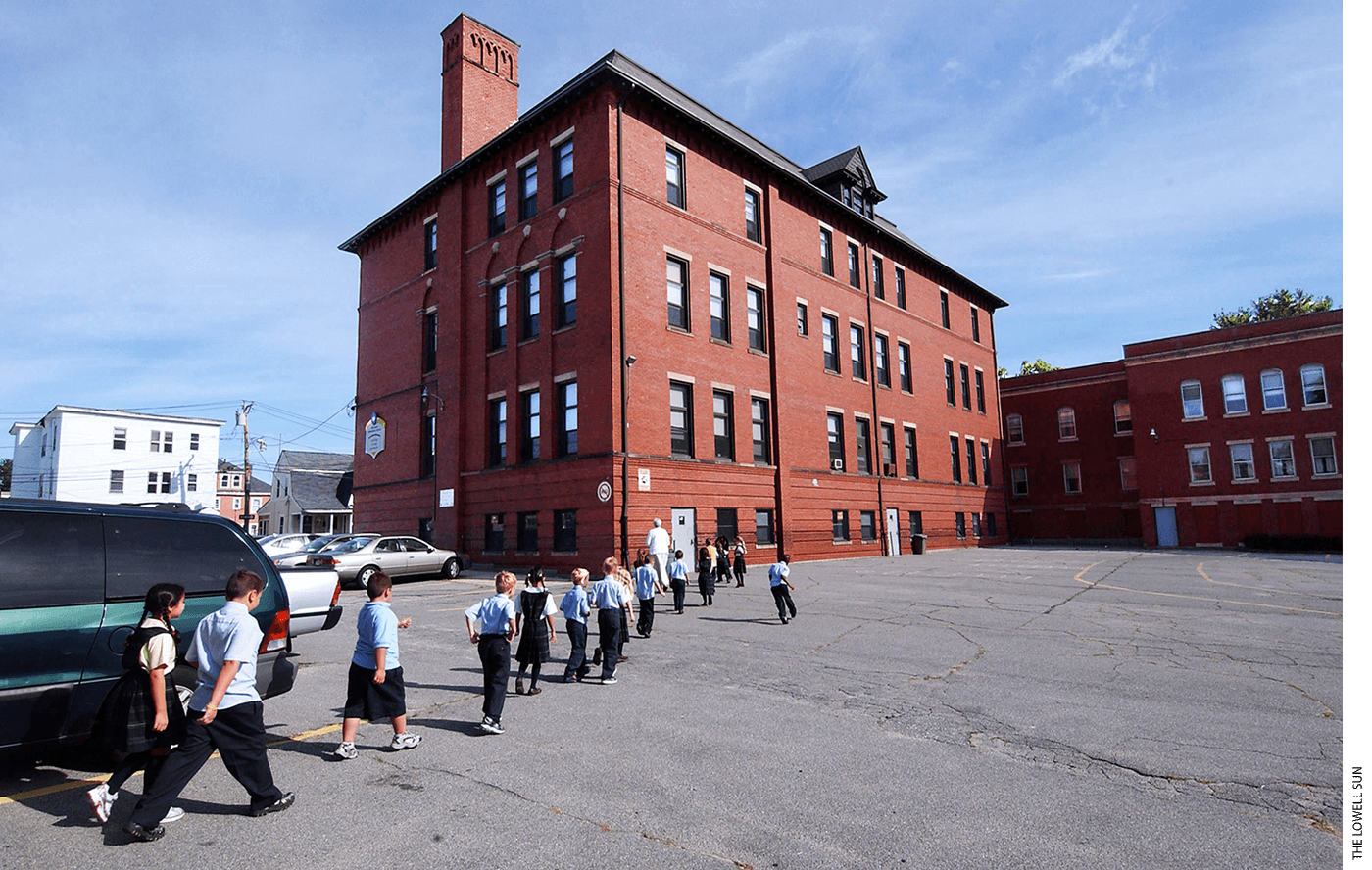 Exterior of St. Louis School in Lowell, Mass.,