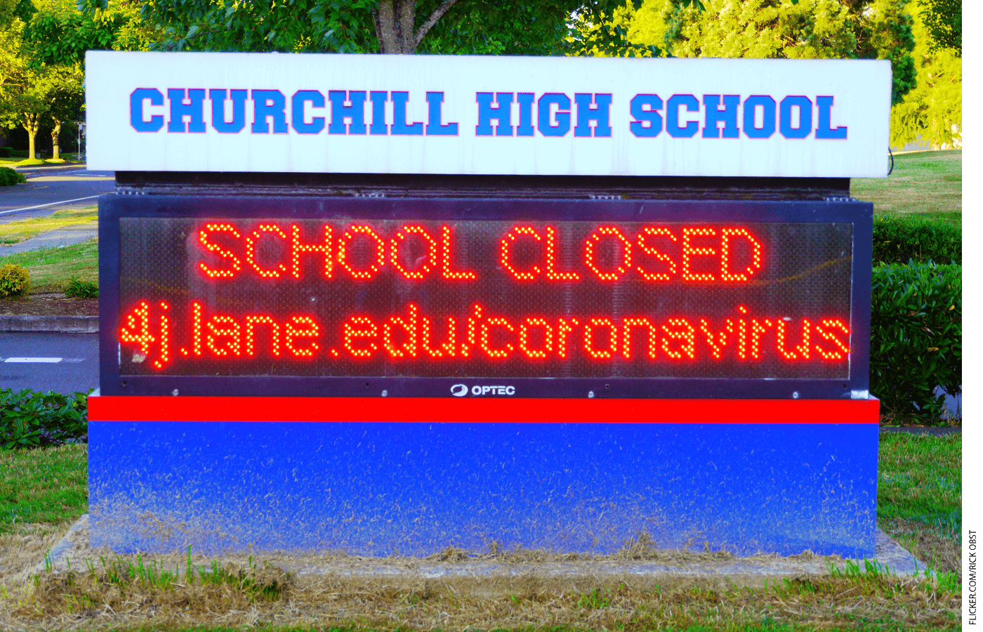 School Closed sign outside Churchill High School