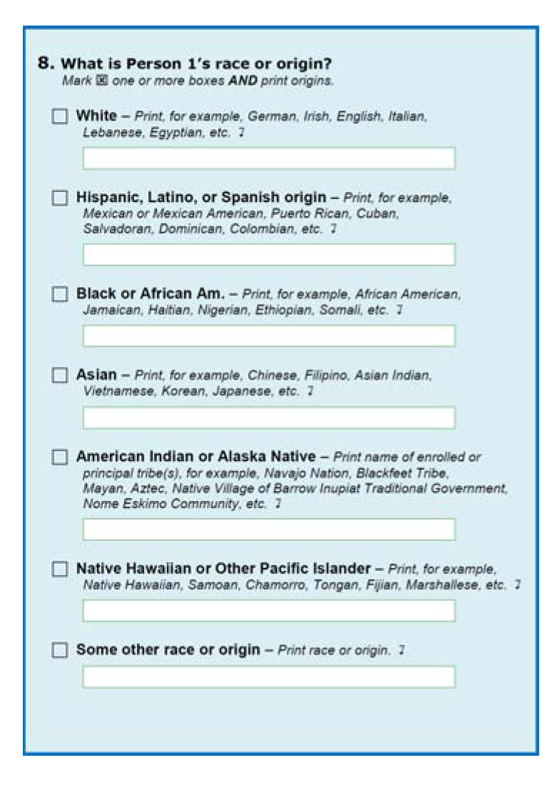 Example from US Census form