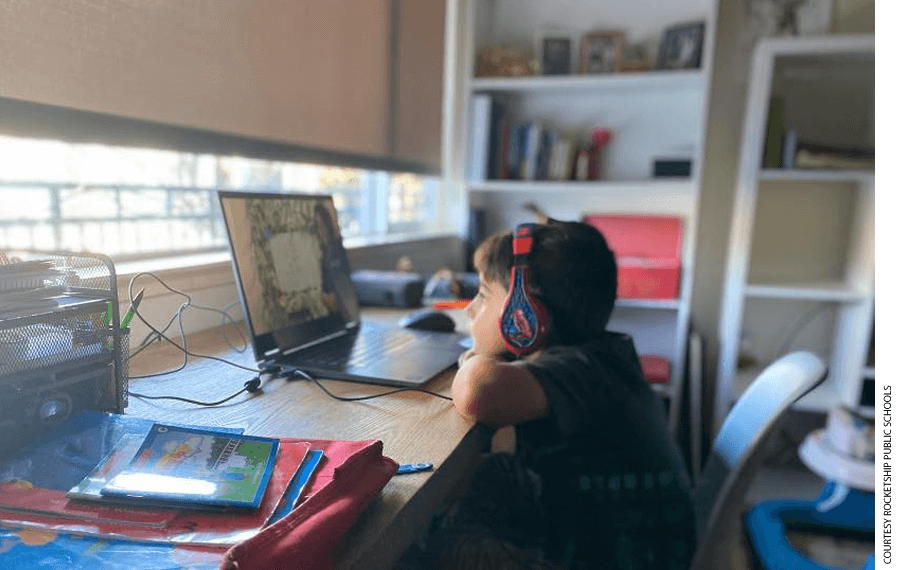A Rocketship Public Schools student participates in distance learning during the Covid-19 pandemic.