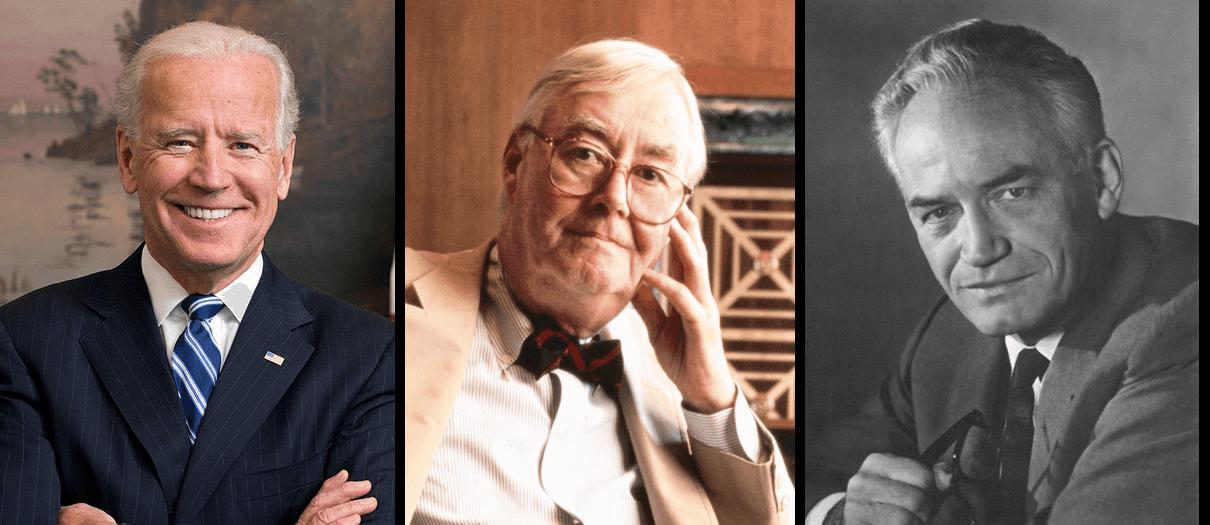 Portraits of Joe Biden, Daniel Patrick Moynihan, and Barry Goldwater.
