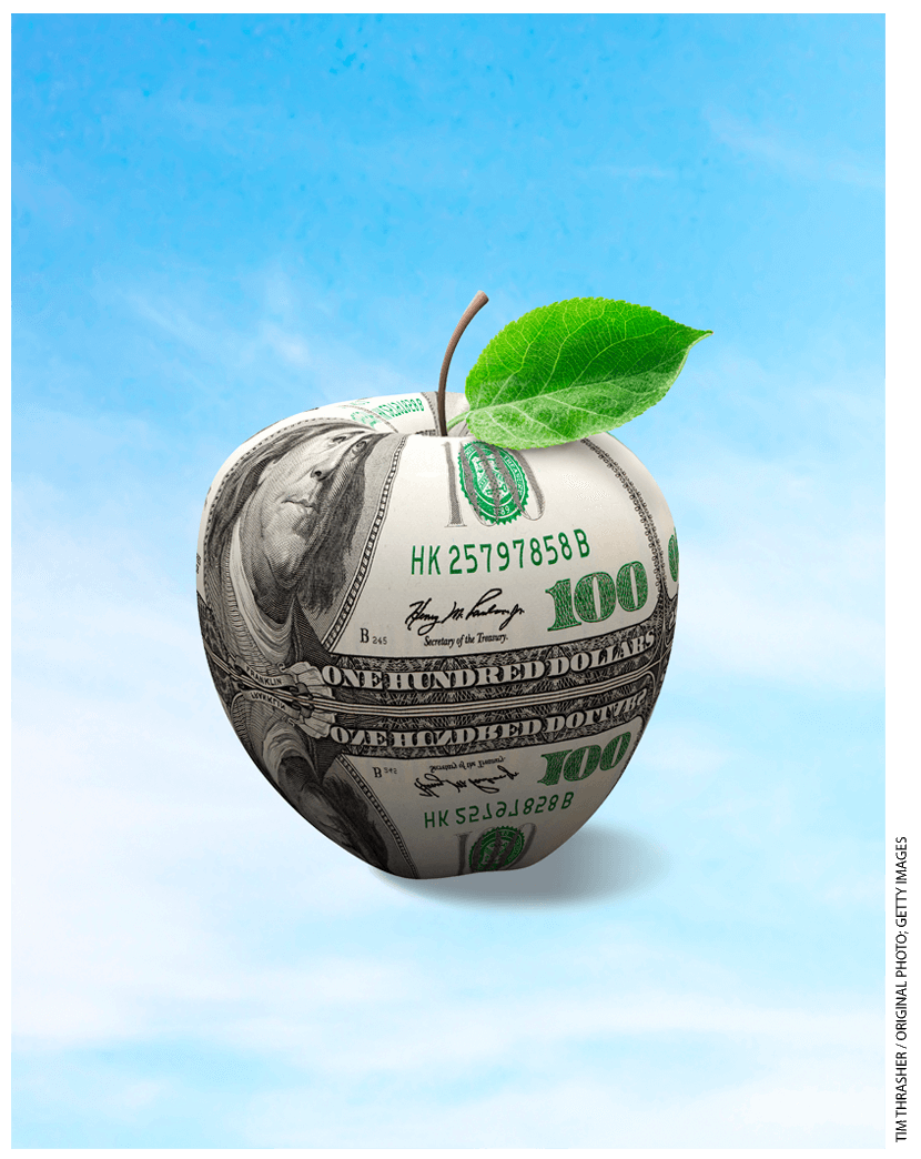Illustration of an apple covered in a hundred dollar bill