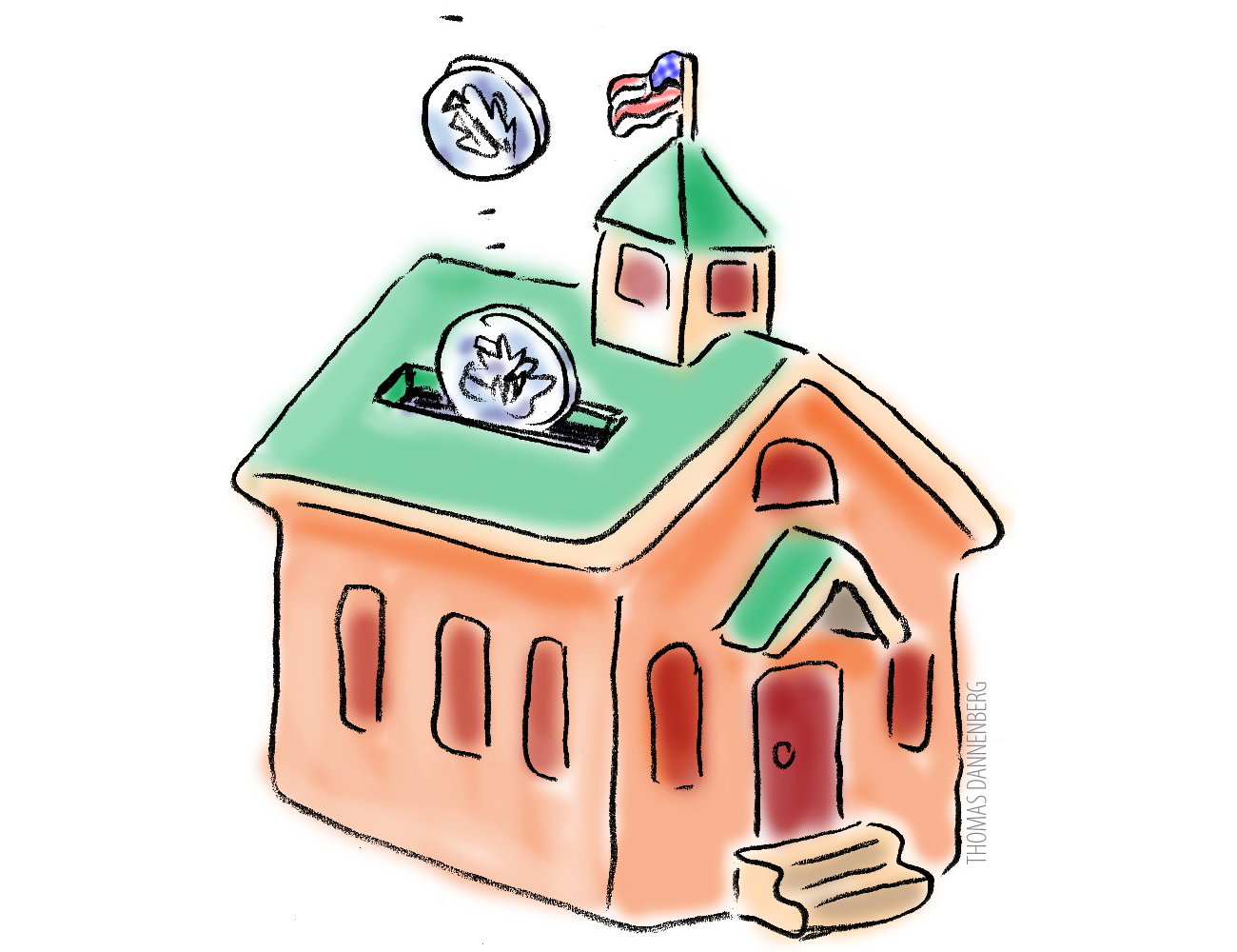 Illustration of coins falling into a school-shaped piggy bank