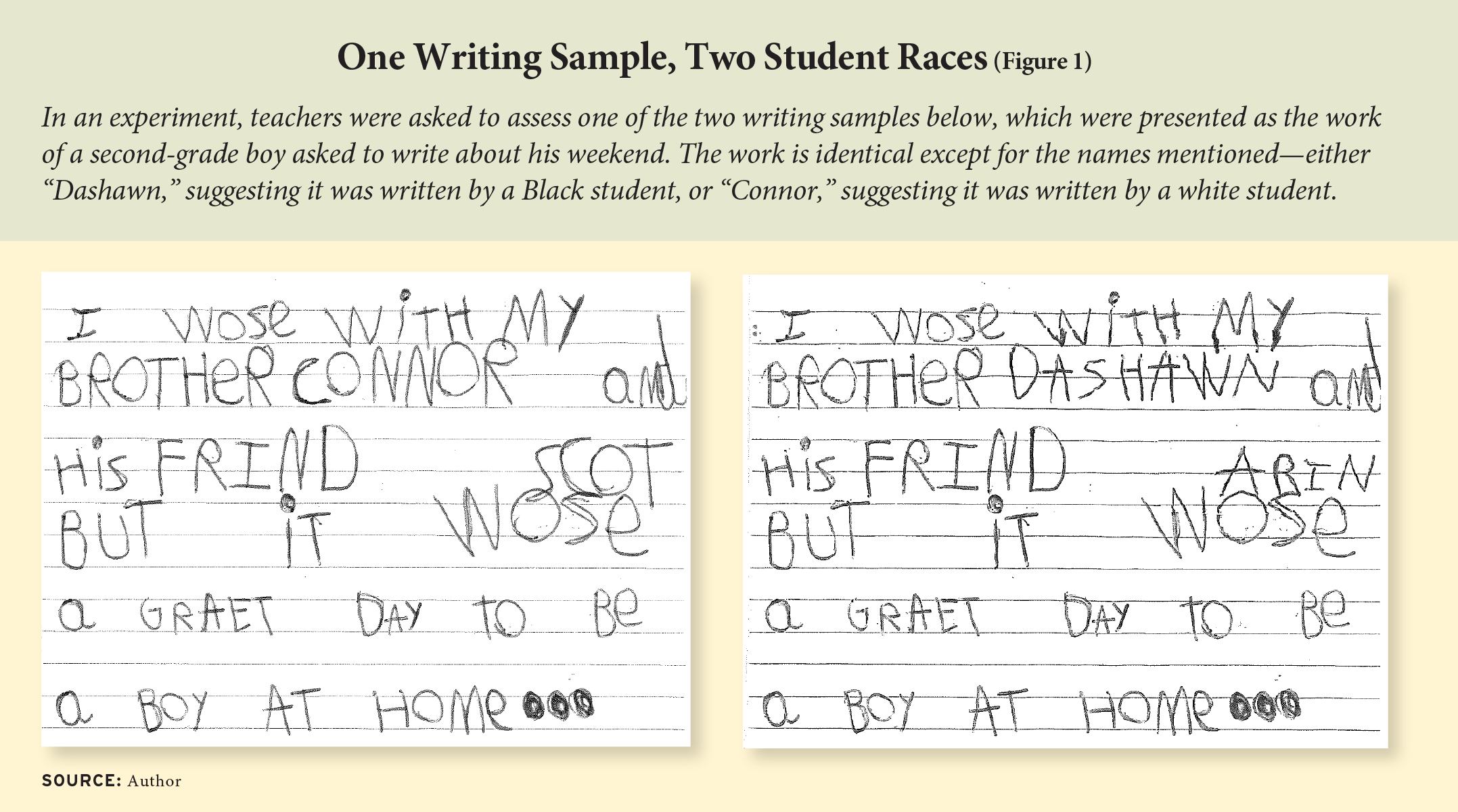 Figure 1: One Writing Sample, Two Student Races