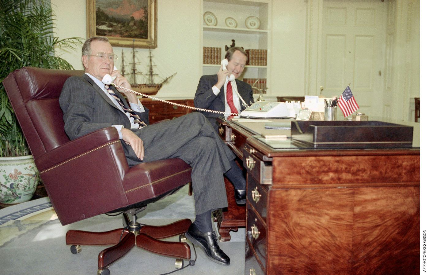 President George H.W. Bush and Alexander speak to the governors of Maine and Maryland on the phone about the American 2000 program on September 4, 1991.