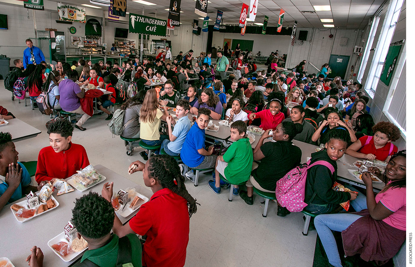 There's no imperative to maintain a remote lunch and recess schedule similar to an in-person one built around school building logistics such as limited cafeteria seating.