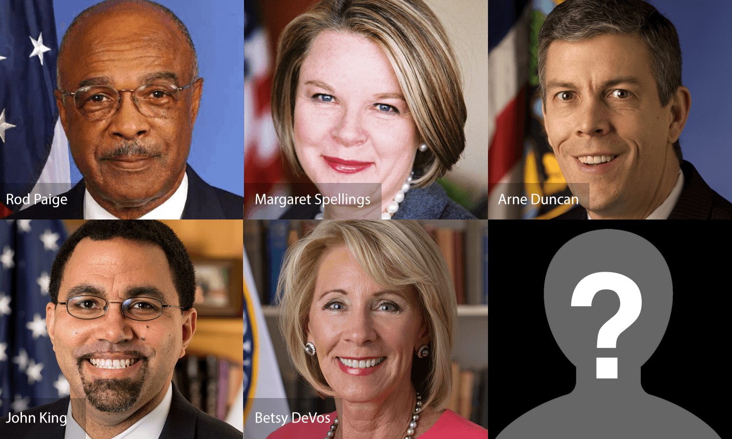Collage of the previous five U.S. Secretaries of Education, with a question mark in the sixth box