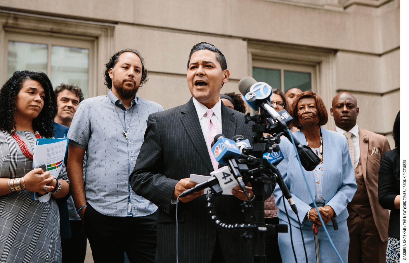 Richard Carranza, schools chancellor for New York, speaks during a news conference in front of the city's Department of Education.