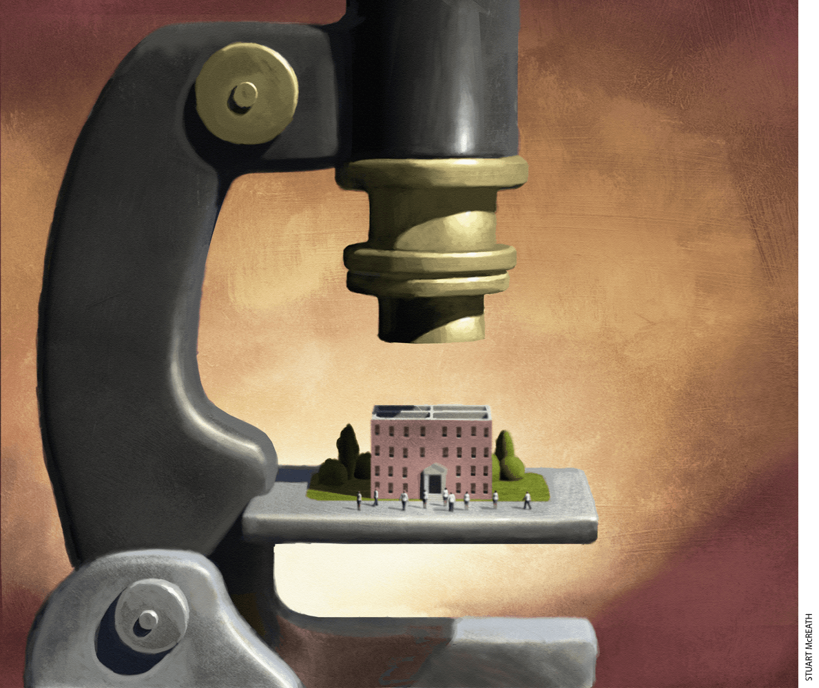 Illustration of a school under a microscope