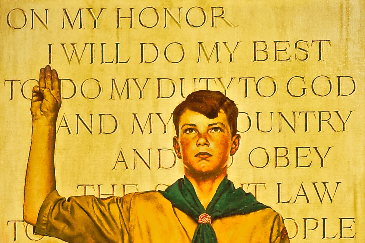 Painting of a boy scout