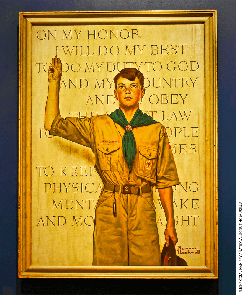 Painting of a boy scout taking an oath