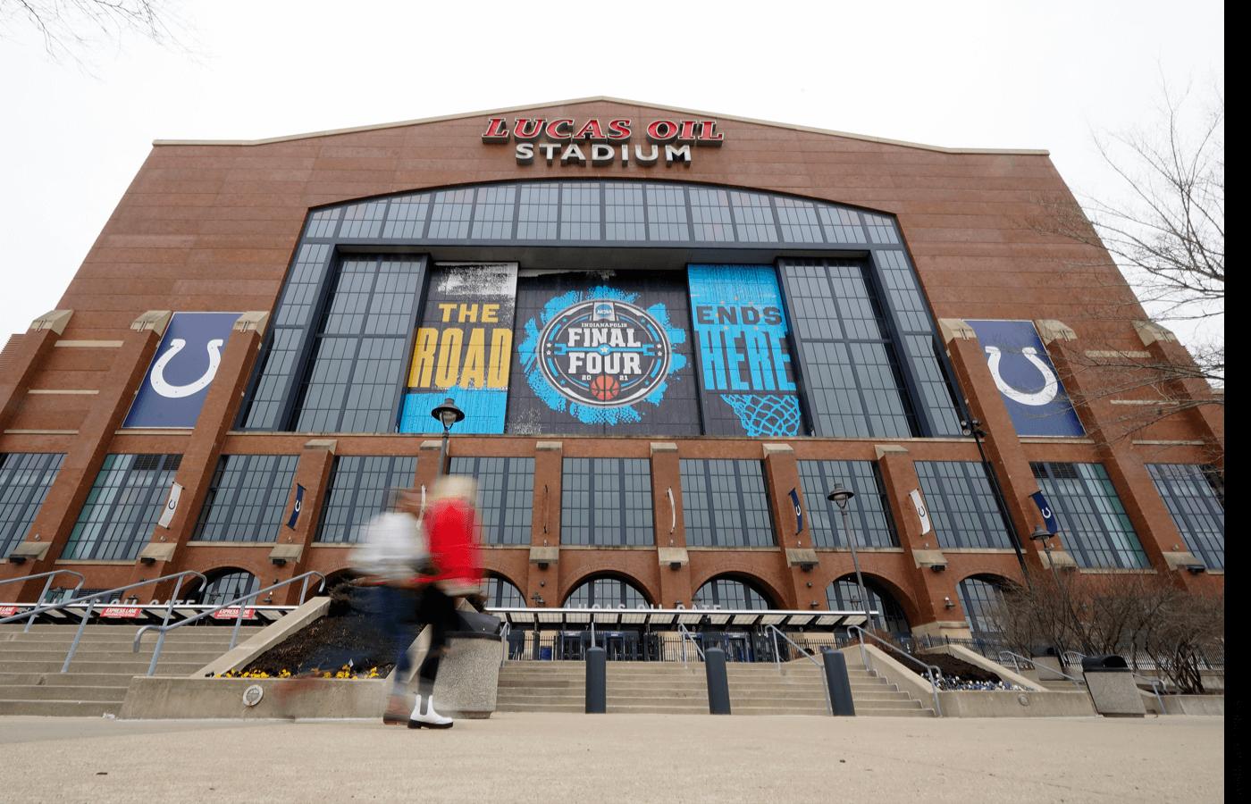 Exterior of Lucas Oil Stadium in Indianapolis, IN