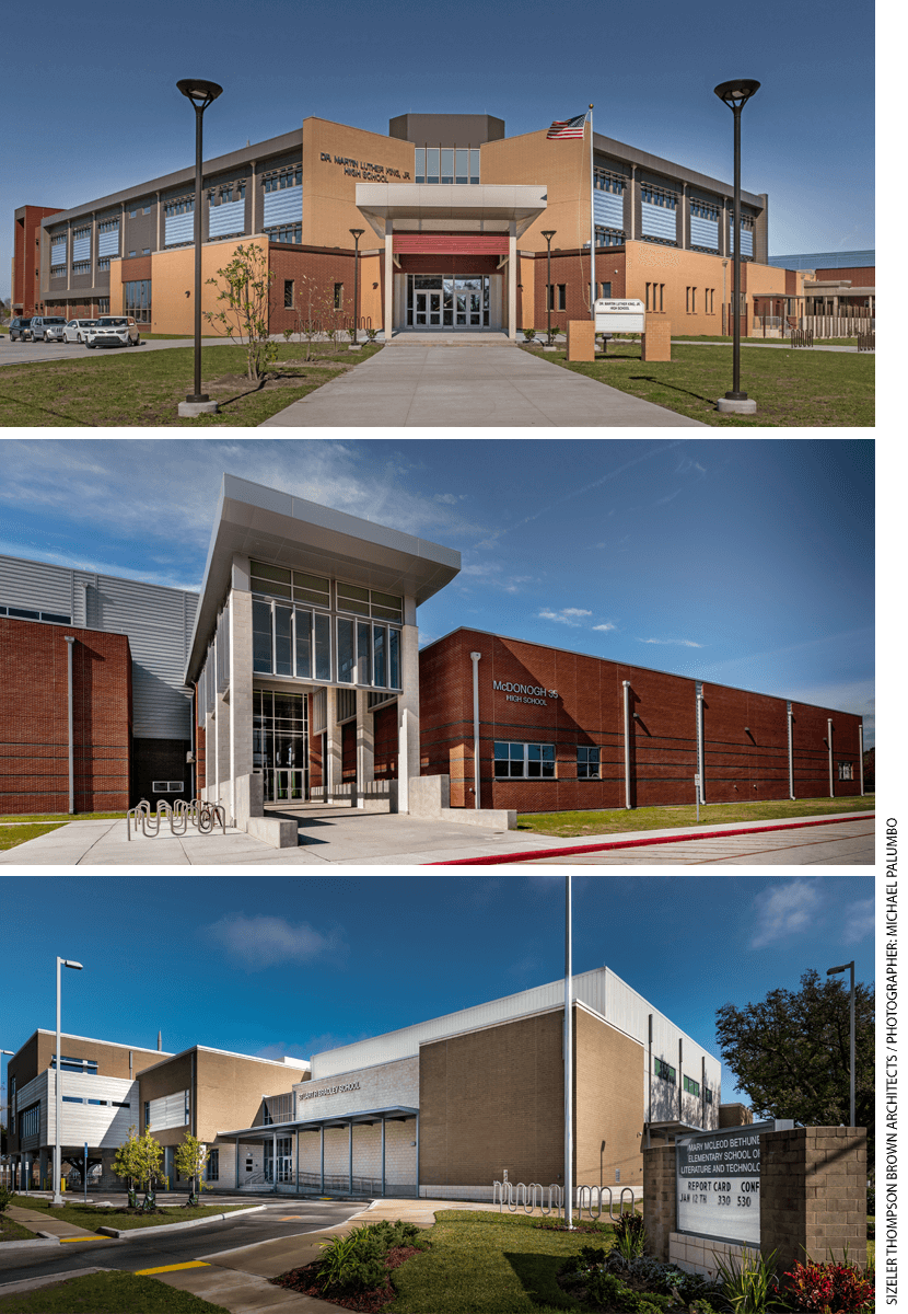 Three New Orleans schools, from top: Dr. Martin Luther King Jr. High School, McDonogh 35 Senior High School, and Mary McLeod Bethune Elementary School