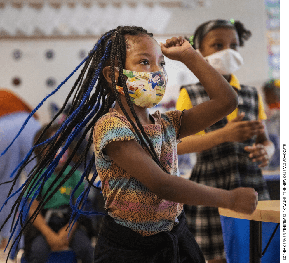 Denae Smith, 5 years old, dances with her 1st-grade classmates at KIPP East Community Primary, a charter school.