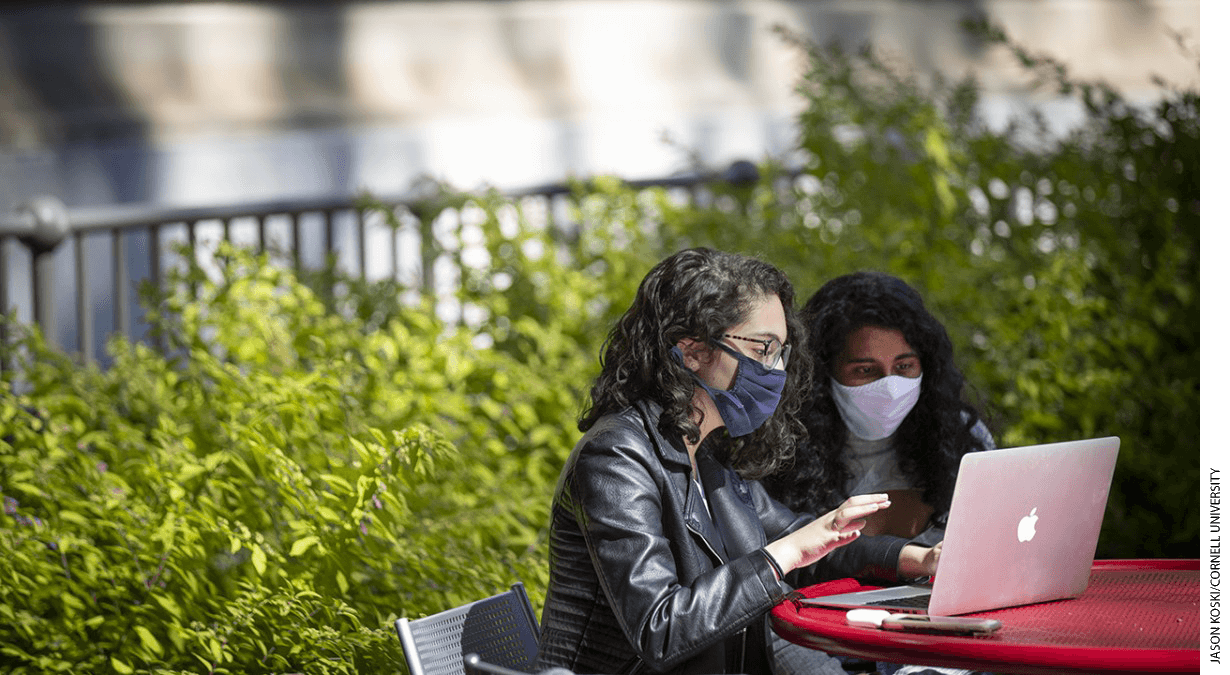 Students work together outside Warren Hall at Cornell University.