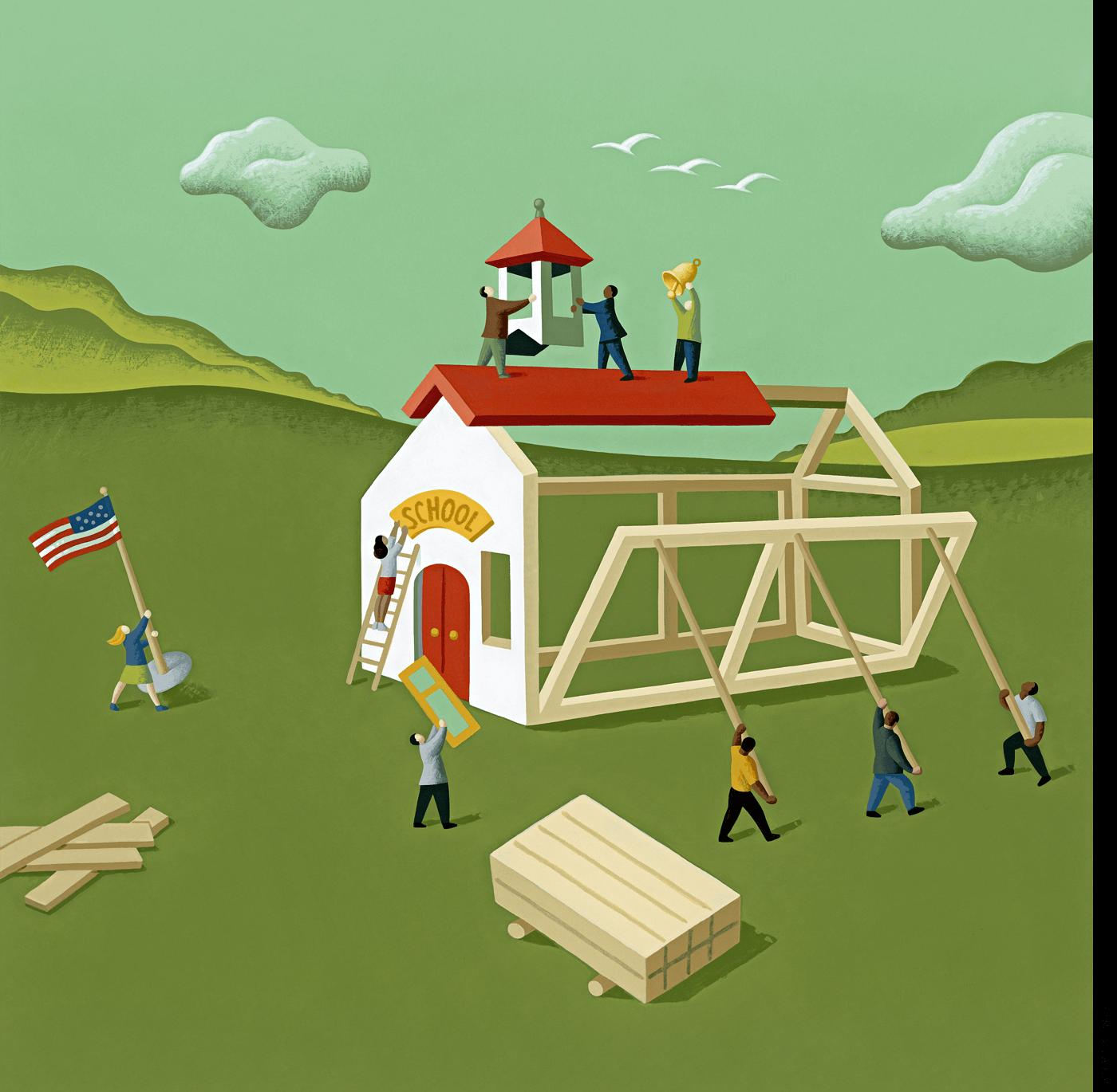 Illustration of a school under construction