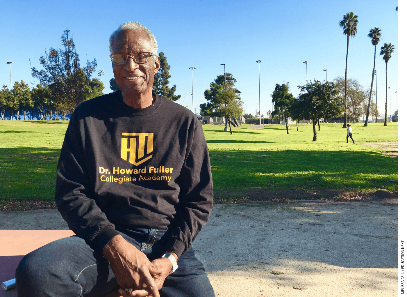 Howard Fuller at the Freedom Coalition for Charter Schools rally in Los Angeles in 2019. He wondered how DeVos could stomach working with Trump.