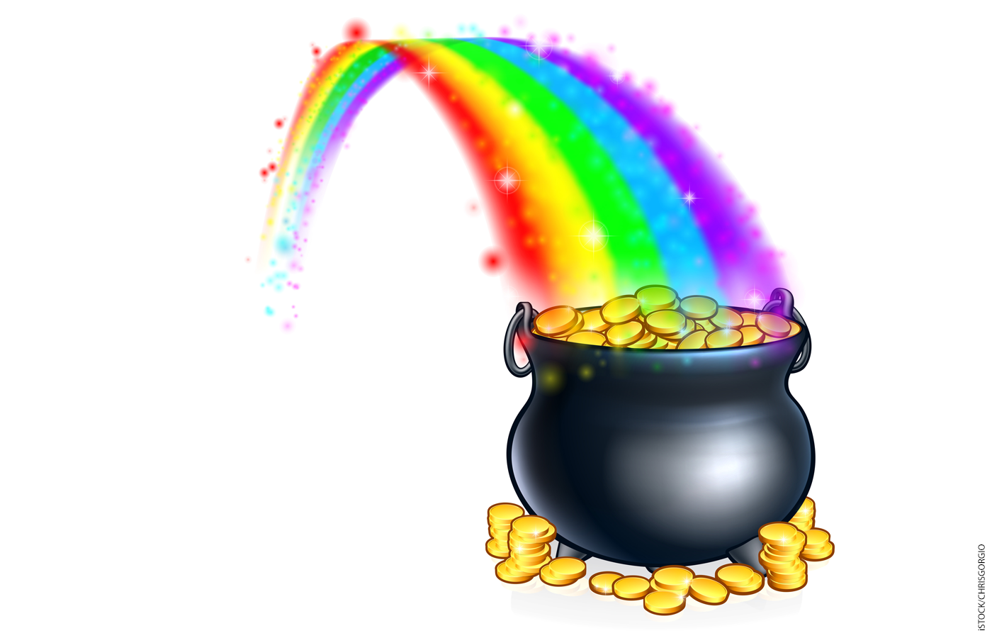 Illustration of a pot of gold at the end of a rainbow