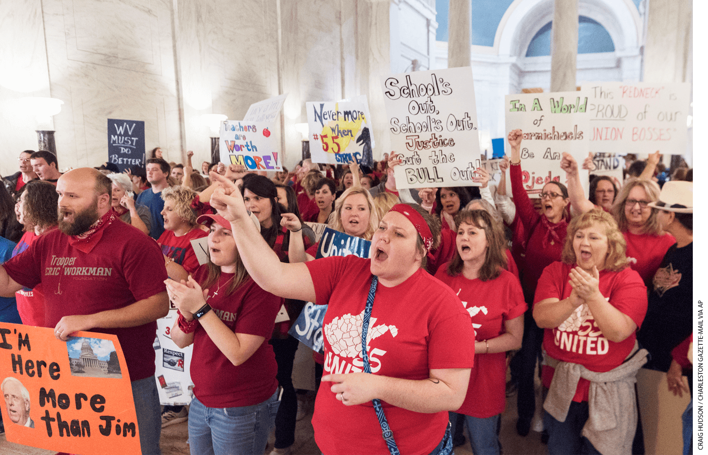 """In 2018, West Virginia teachers protested as part of the """"Red for Ed"""" movement. The state recently enacted education savings accounts."""