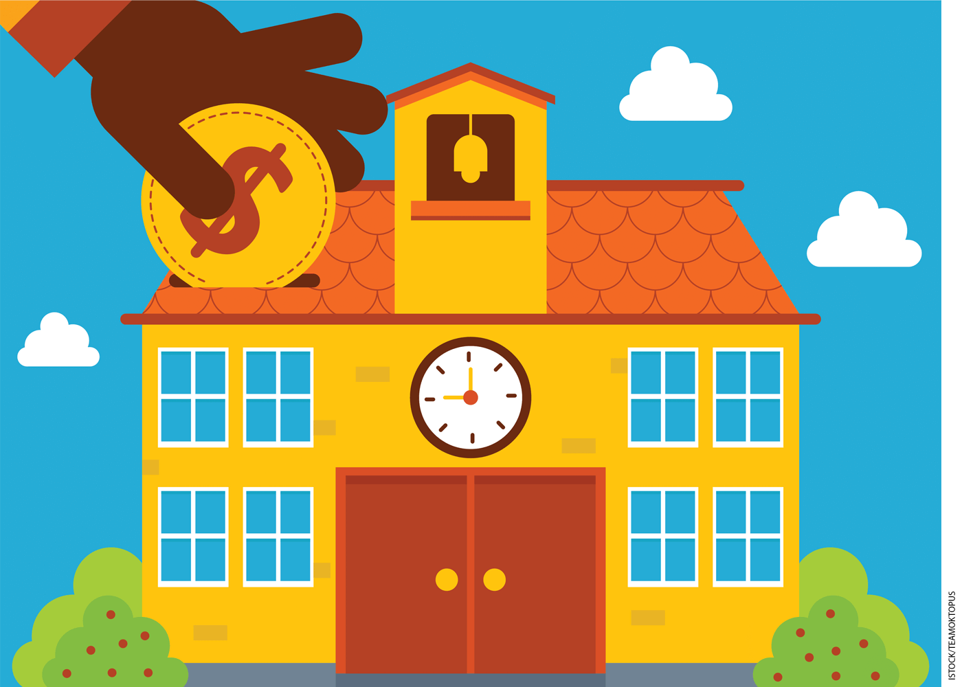 Illustration of a hand dropping a coin into a school