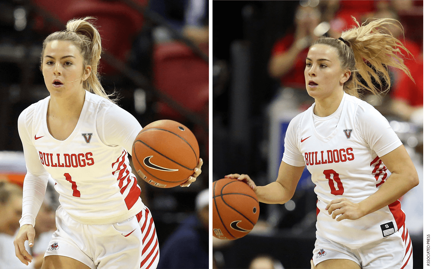 Twins Haley (left) and Hanna Cavinder, who are top-scoring basketball players for Fresno State, have more than 3 million followers on TikTok, plus another quarter-million followers each on Instagram—an audience size substantial enough to land them a sponsorship with Boost Mobile, among other deals.
