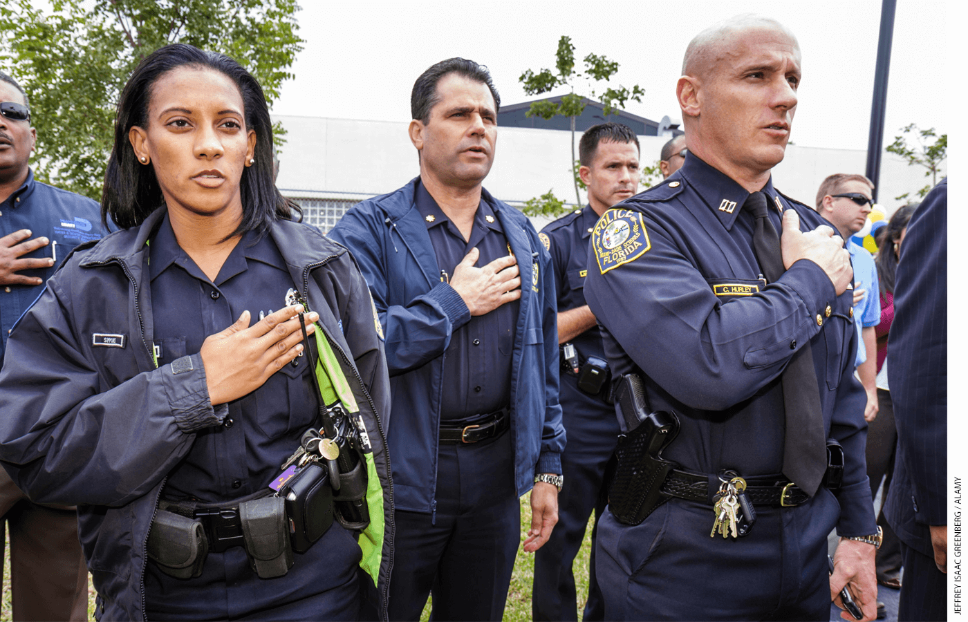 Seventy percent of Americans grade their local police force with an A or a B. Local schools are rated lower, with 55 percent of the public awarding them an A or a B.
