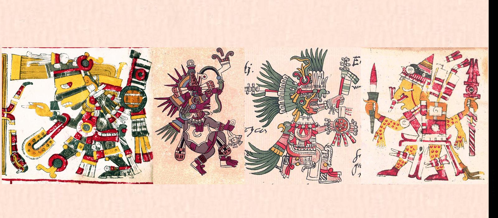 The Aztec Gods Tezcatlipoca, Quetzalcoatl, Huitzilopochtli, and Xipe Totek, as depicted in the Codex Telleriano Remensis.