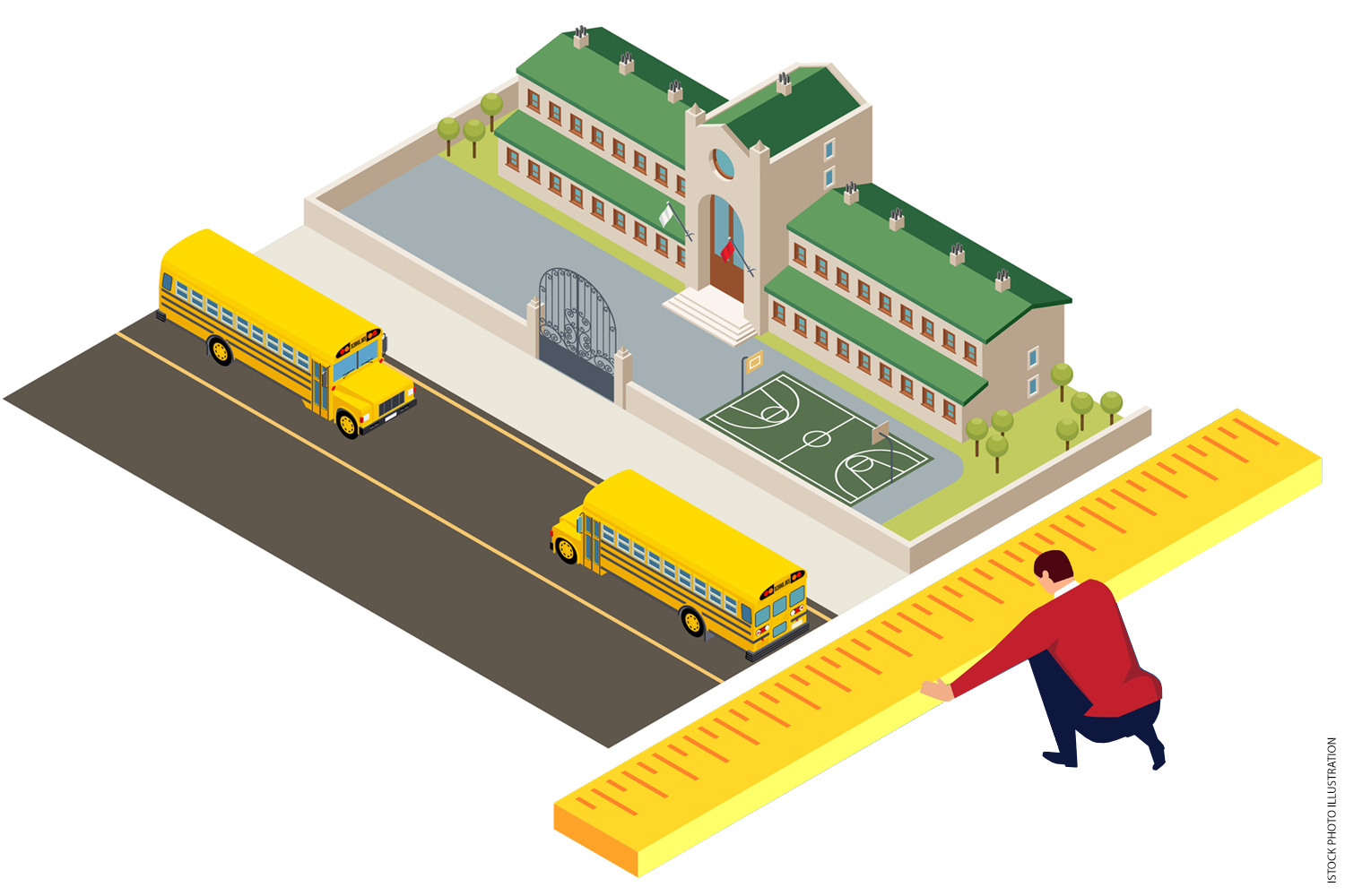 Illustration of a man measuring a school with an oversized ruler