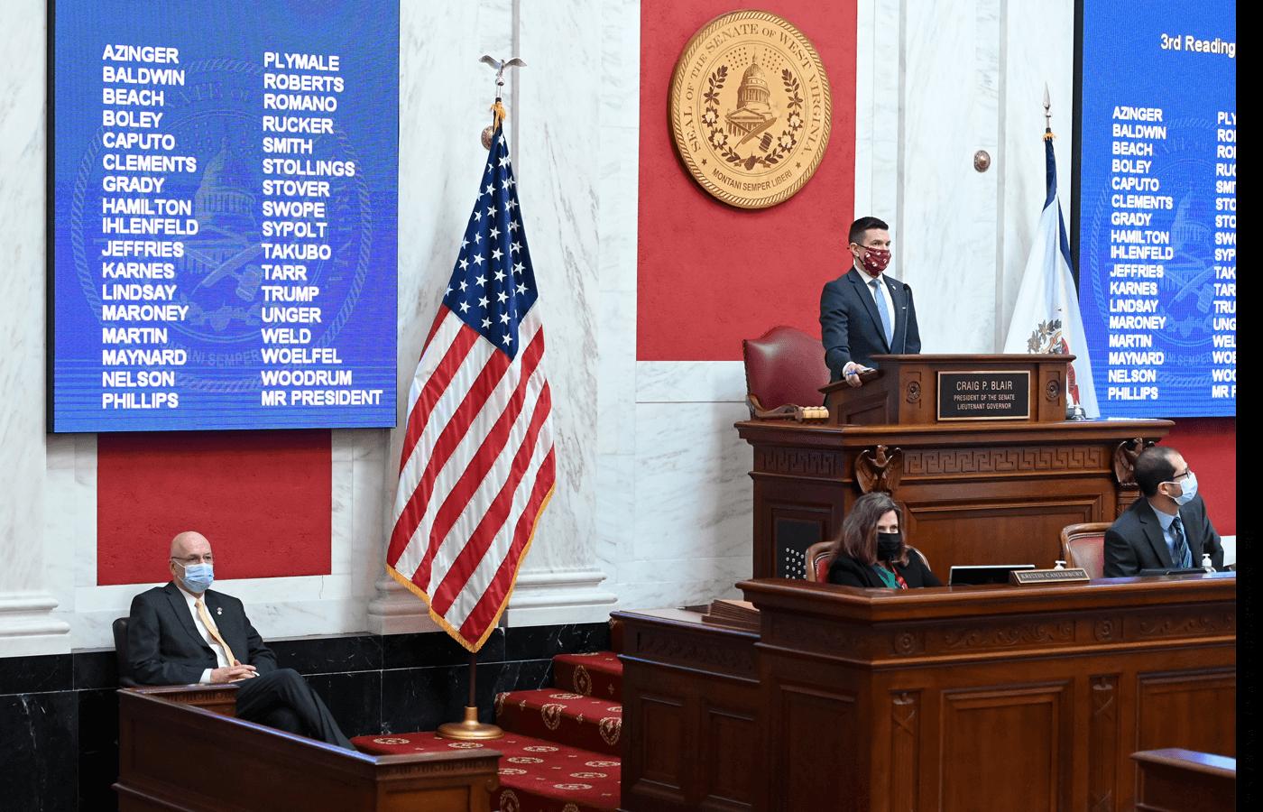 The West Virginia state Senate debates school choice legislation, March 17, 2021.