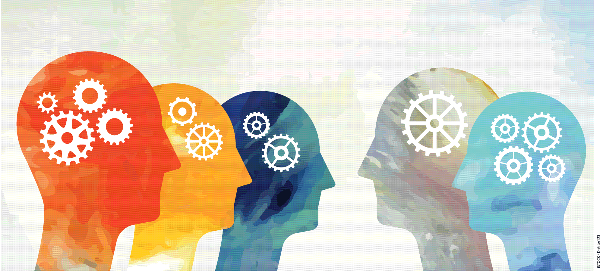 Vibrant heads with gears placed on light background.