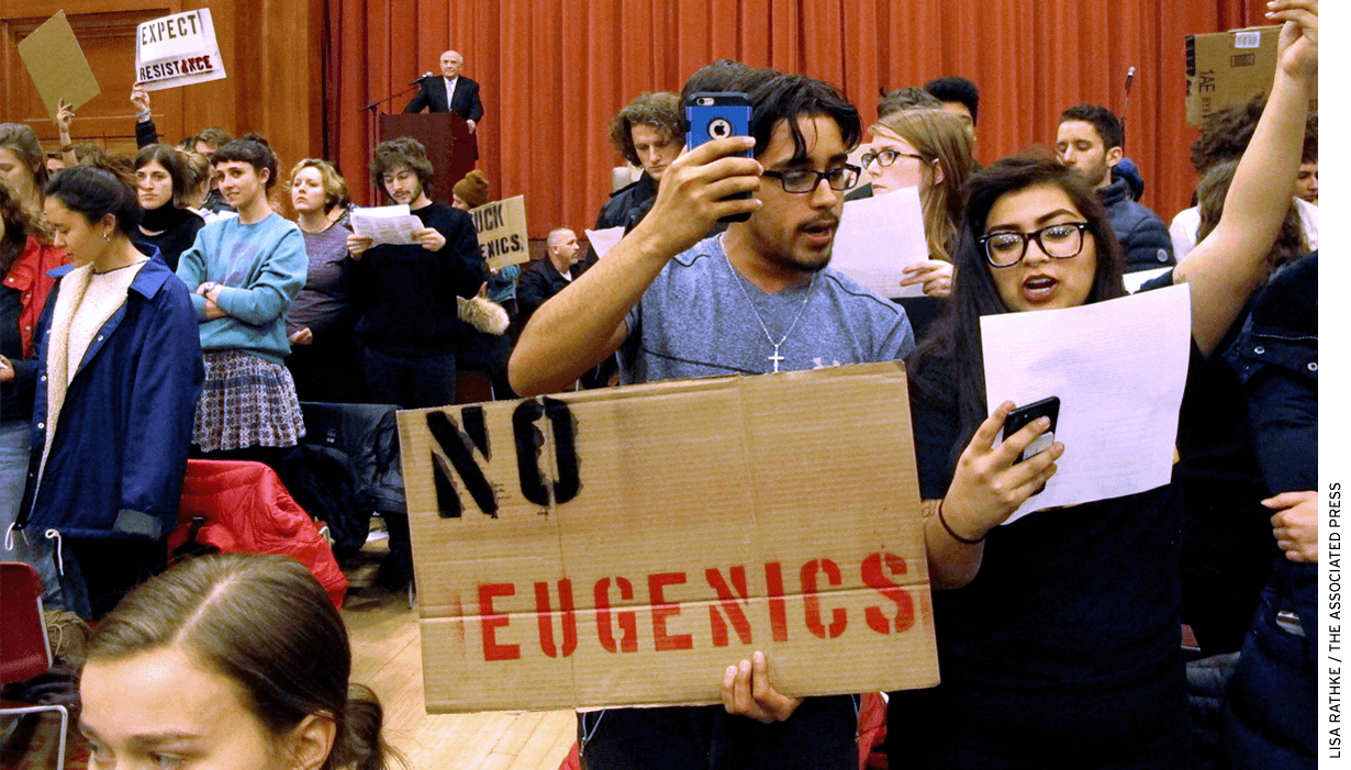 Students at Middlebury College protest an on-campus appearance by Charles Murray in 2017.