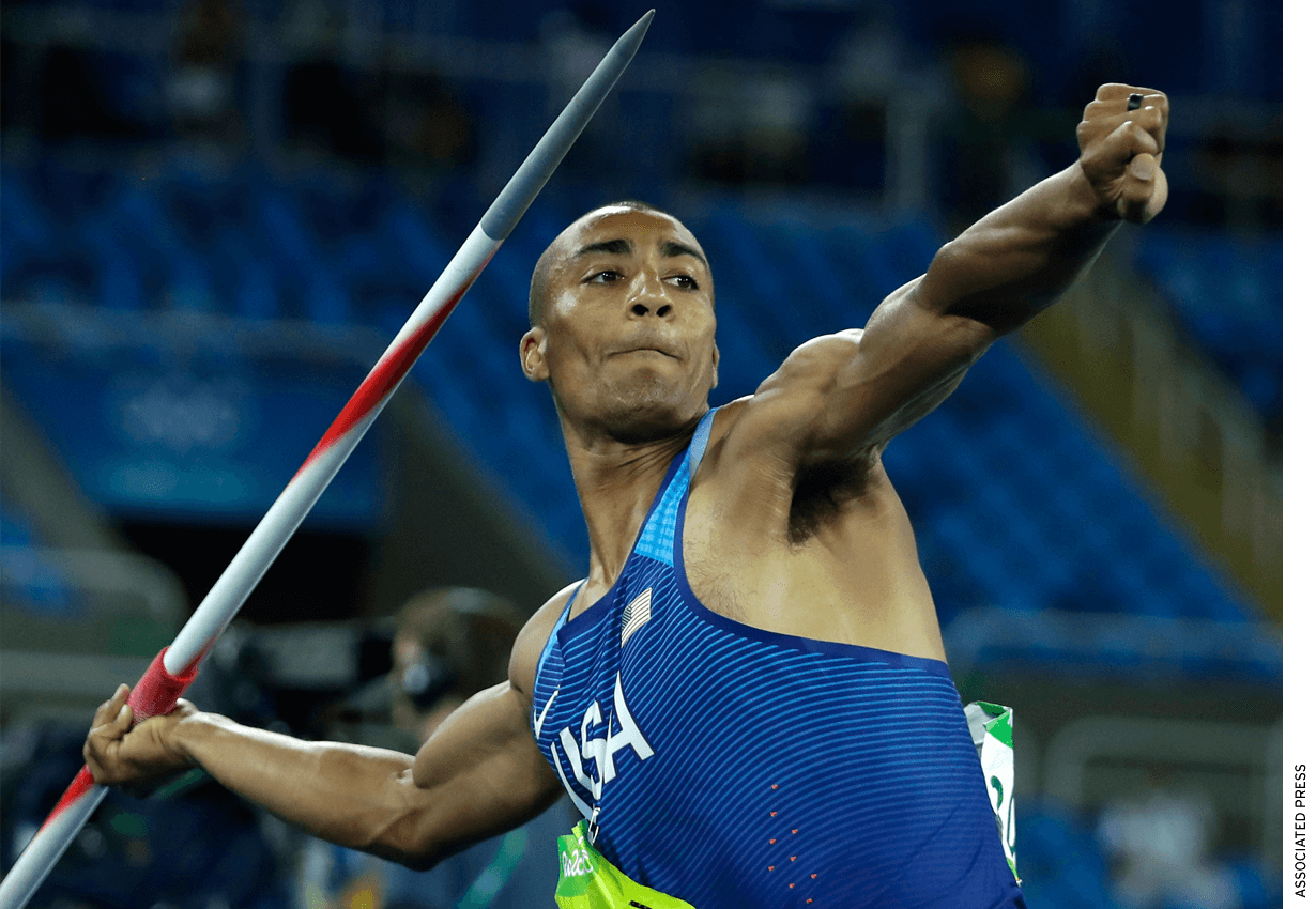 United States' Ashton Eaton makes an attempt in the javelin throw of the decathlon during the athletics competitions of the 2016 Summer Olympics at the Olympic stadium in Rio de Janeiro, Brazil, Thursday, Aug. 18, 2016.