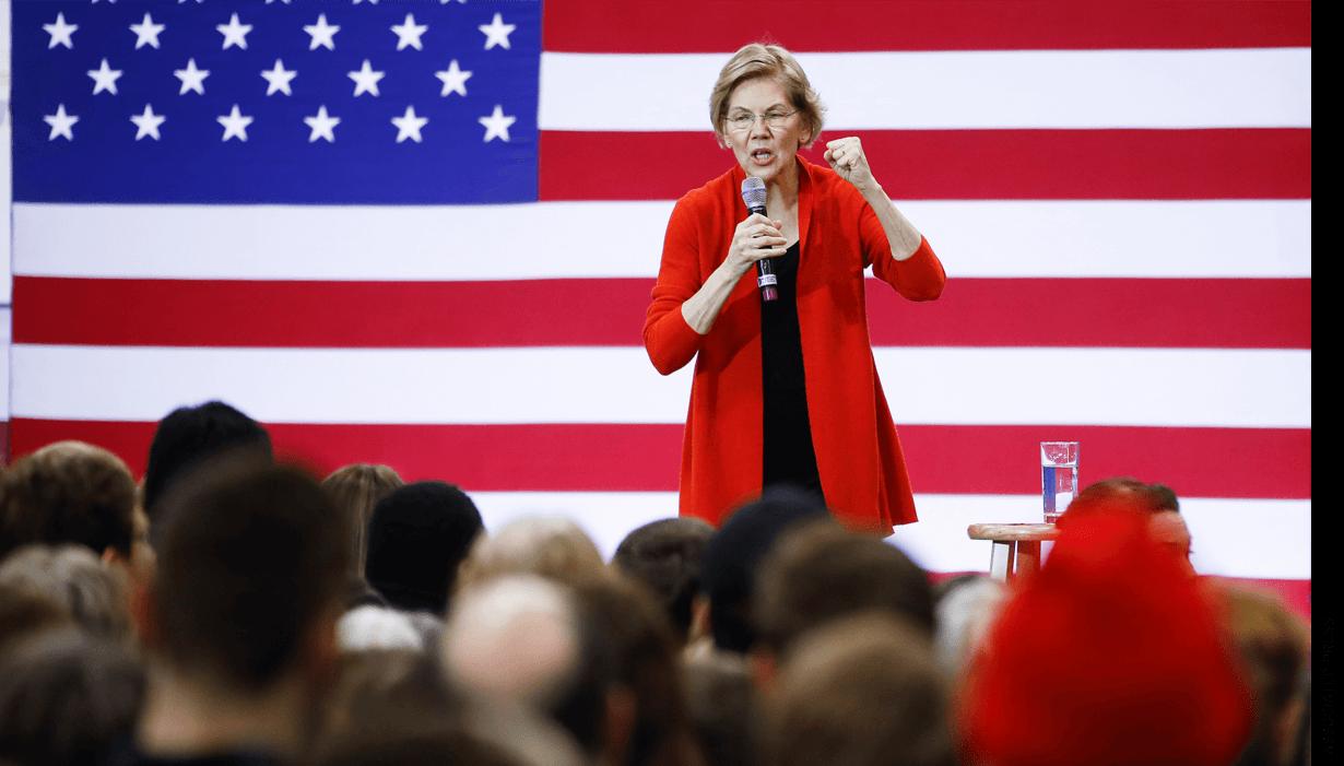 Democratic presidential candidate Sen. Elizabeth Warren, D-Mass., speaks during a campaign event at Lebanon High School, Sunday, Feb. 9, 2020, in Lebanon, N.H.