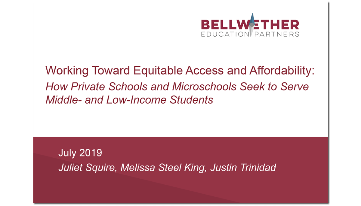 Link to full report by Bellwether Education Partners