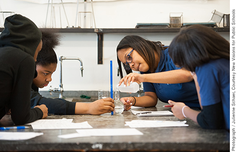 1th grade students work together in a living environment lab class at New Visions Charter High School for the Humanities