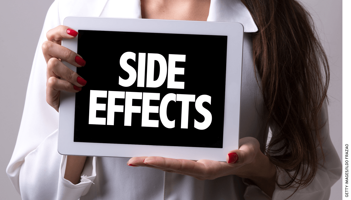 Photo of woman holding tablet reading Side Effects