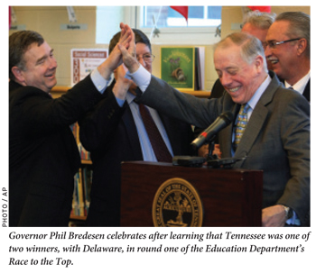 Governor Phil Bredesen celebrates after learning that Tennessee was one of two winners, with Delaware, in round one of the Education Department's Race to the Top.
