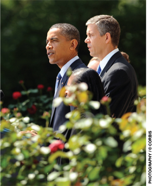 President Barack Obama, accompanied by Education Secretary Arne Duncan, makes a statement in the Rose Garden urging the House of Representatives to pass a funding package aimed at saving 160,000 teacher jobs across the country.