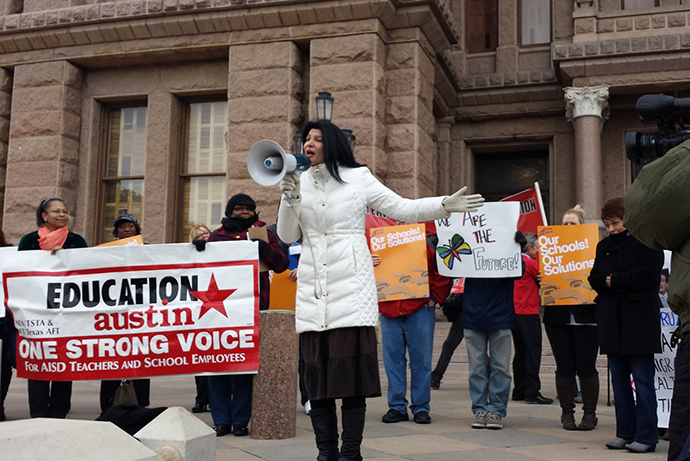 Lily Eskelsen García speaks in front of the Texas State Capitol in Austin, December 2013