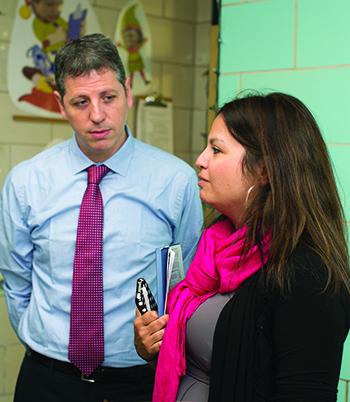 Brett Peiser with Serena Savarirayan, principal at North Star Academy Vailsburg Middle School