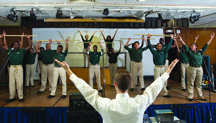 Taylor Martin instructs a performing arts class at North Star Academy Vailsburg Middle School.