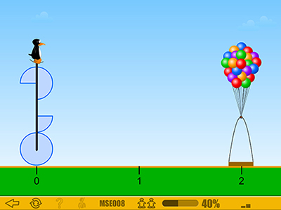 In the ST Math game JiJi Cycle, students encounter visual representations of fractions as pie shapes and must move the balloon platform to the correct place on the number line. Students later advance to connecting the visual puzzle to written fractions Courtesy MIND Research Institute