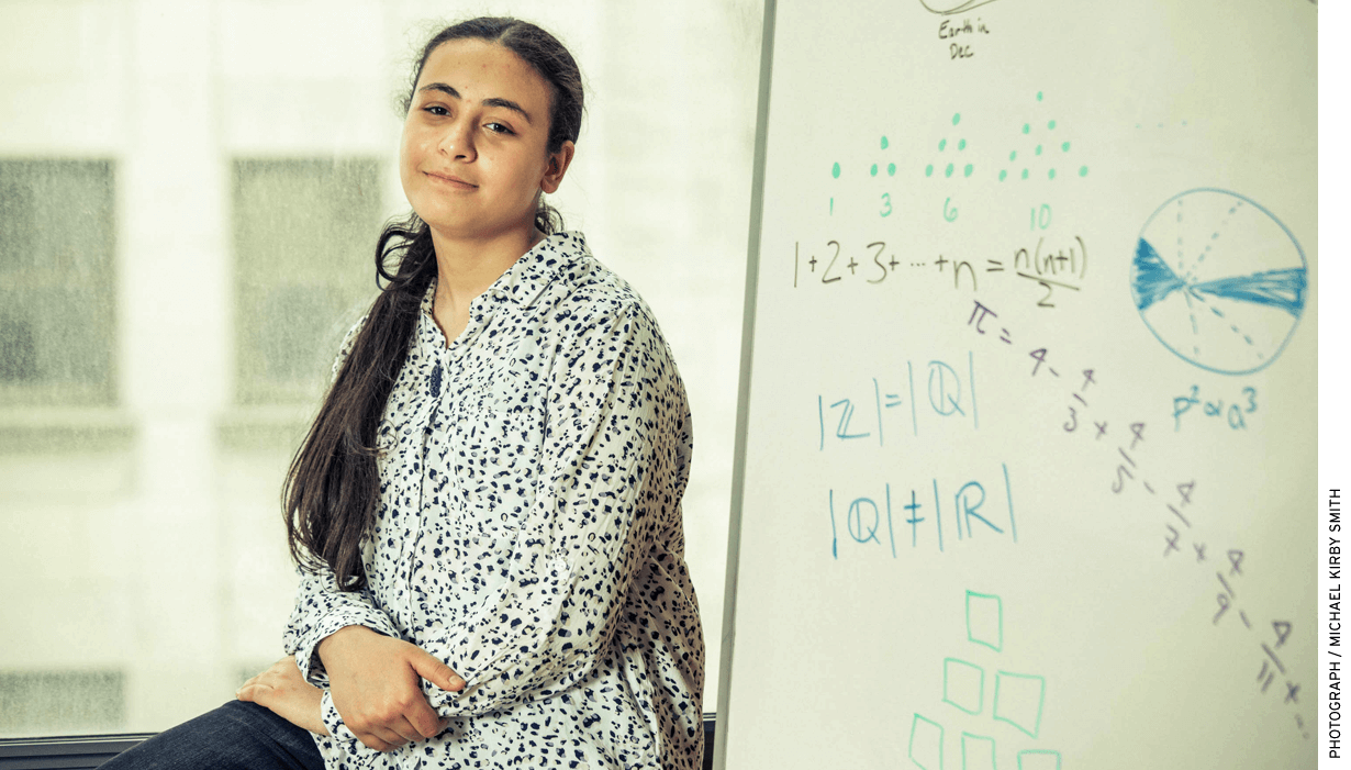 Youmna Nasr, 13, attended the Bridge to Enter Advanced Mathematics Program in New York and won a coveted 9th-grade spot at Bard High School Early College Queens.