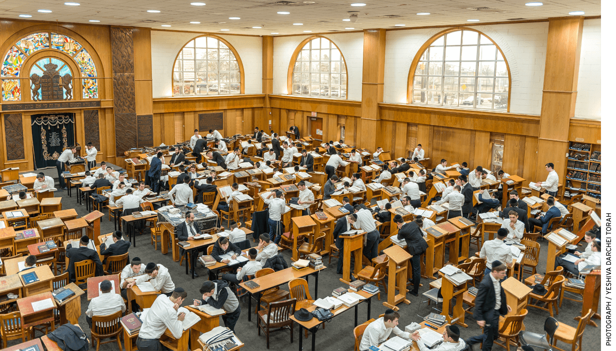 A study hall at Yeshiva Darchei Torah in Far Rockaway, N.Y. Six recent graduates have attended Harvard Law School.