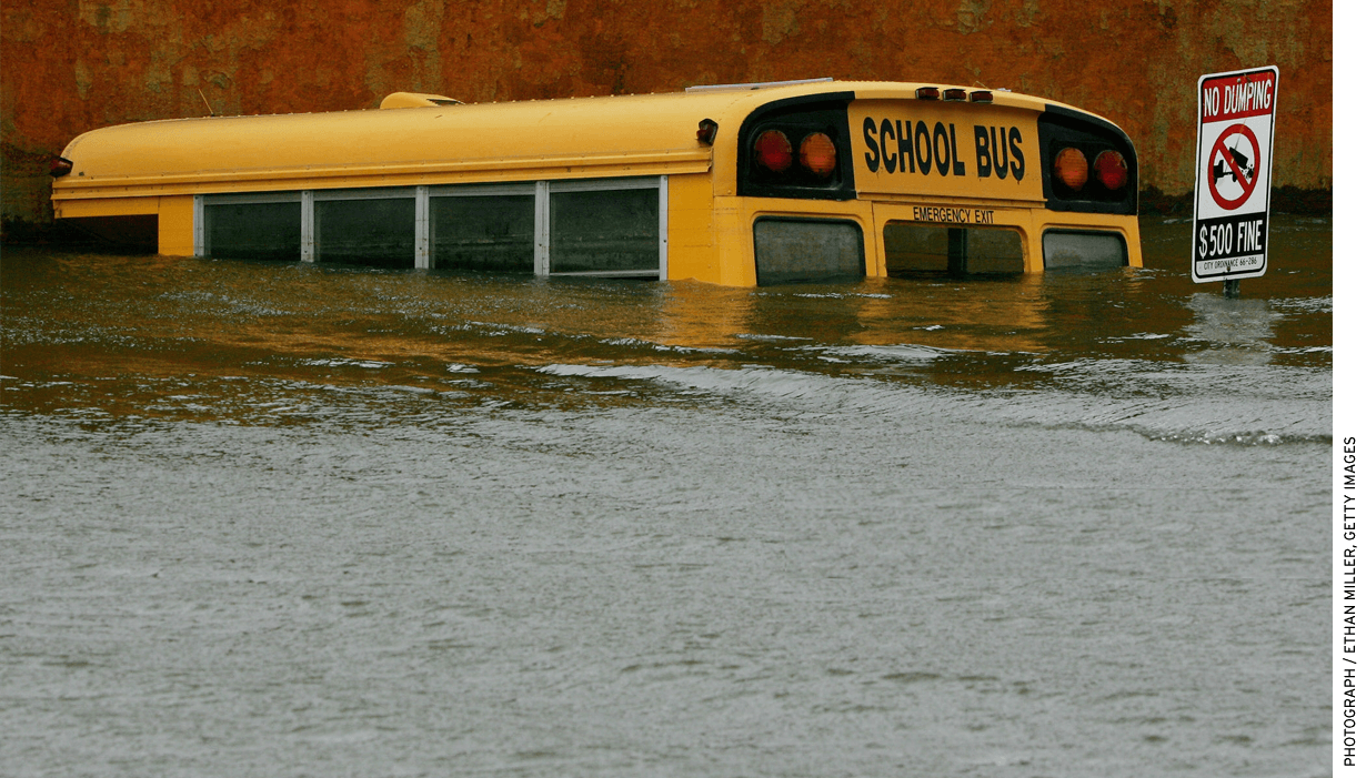 A submerged school bus is seen in the flooded Lower Ninth Ward, September 24, 2005 in New Orleans. Hurricane Rita followed just over three weeks after Hurricane Katrina hit the region.